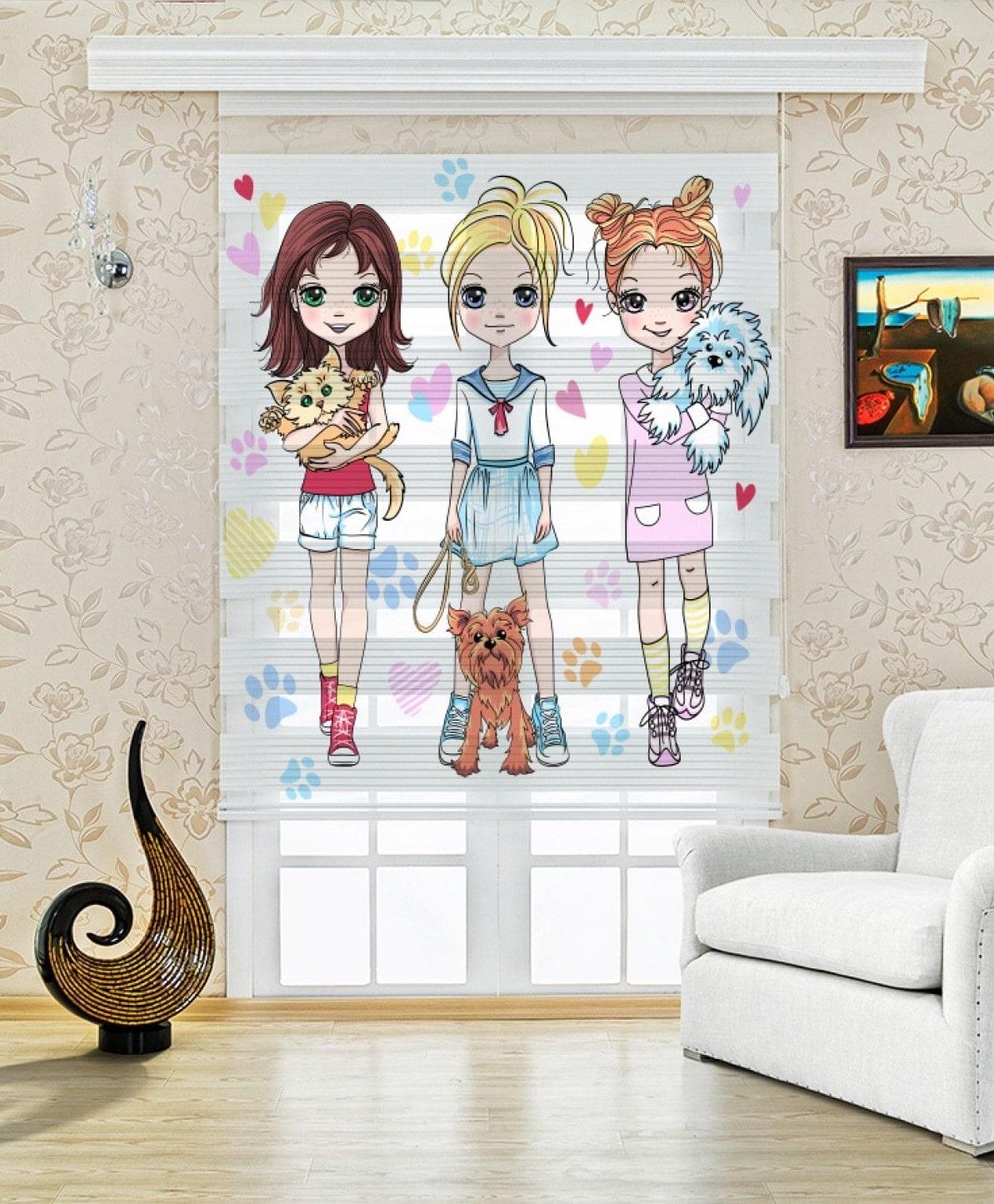 Cici Kızlar Baskılı Çocuk Odası Zebra Perde