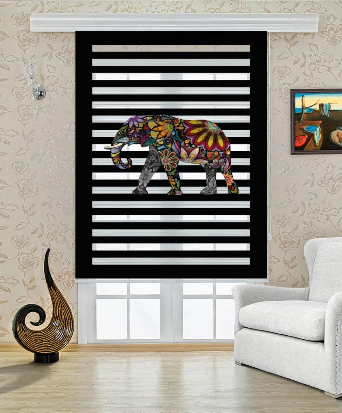Motifli Fil Baskılı Baskılı Zebra Perde