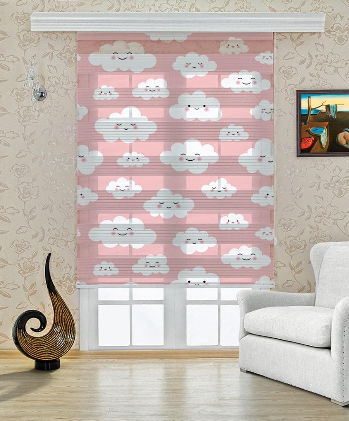 Pembe Bulutlar Baskılı Çocuk Odası Zebra Perde