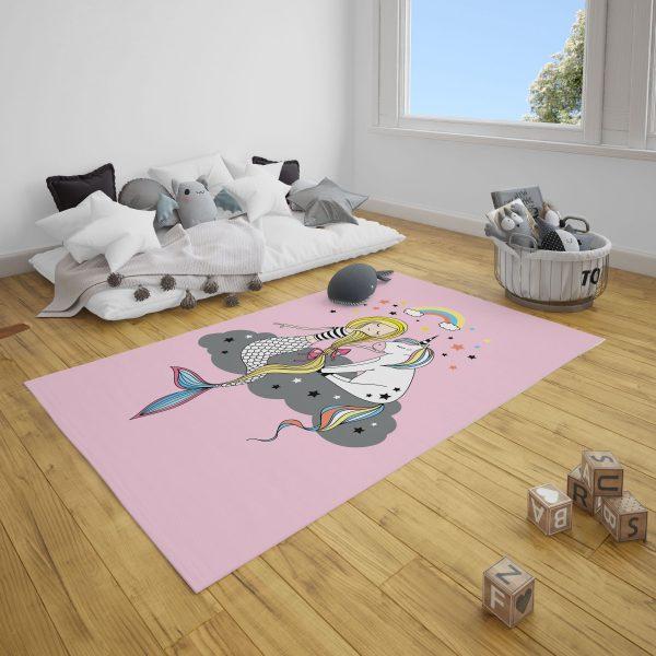 Pembe Deniz Kızı Bebek ve Çocuk Odası Halı