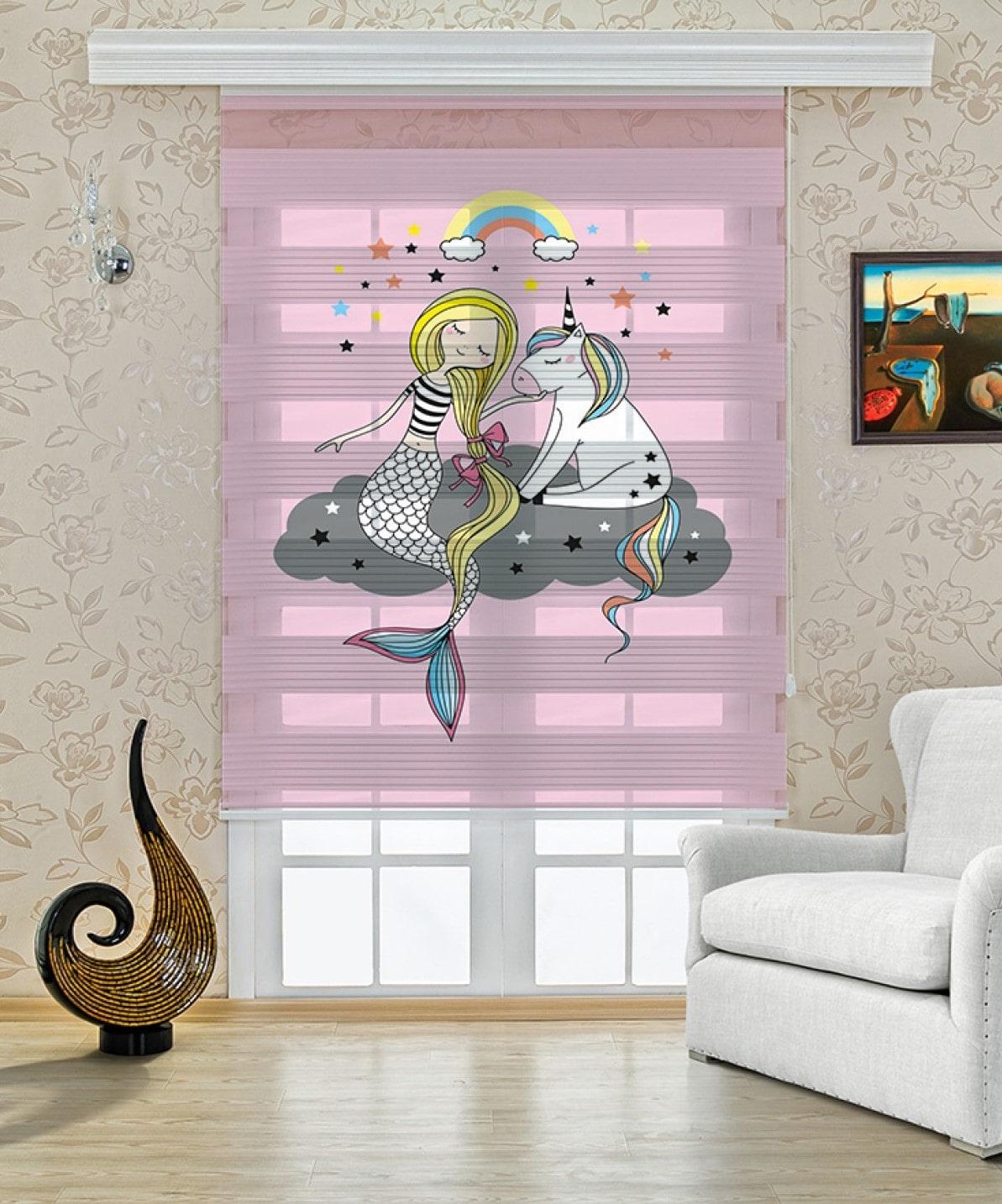 Pembe Deniz Kızı Baskılı Çocuk Odası Zebra Perde