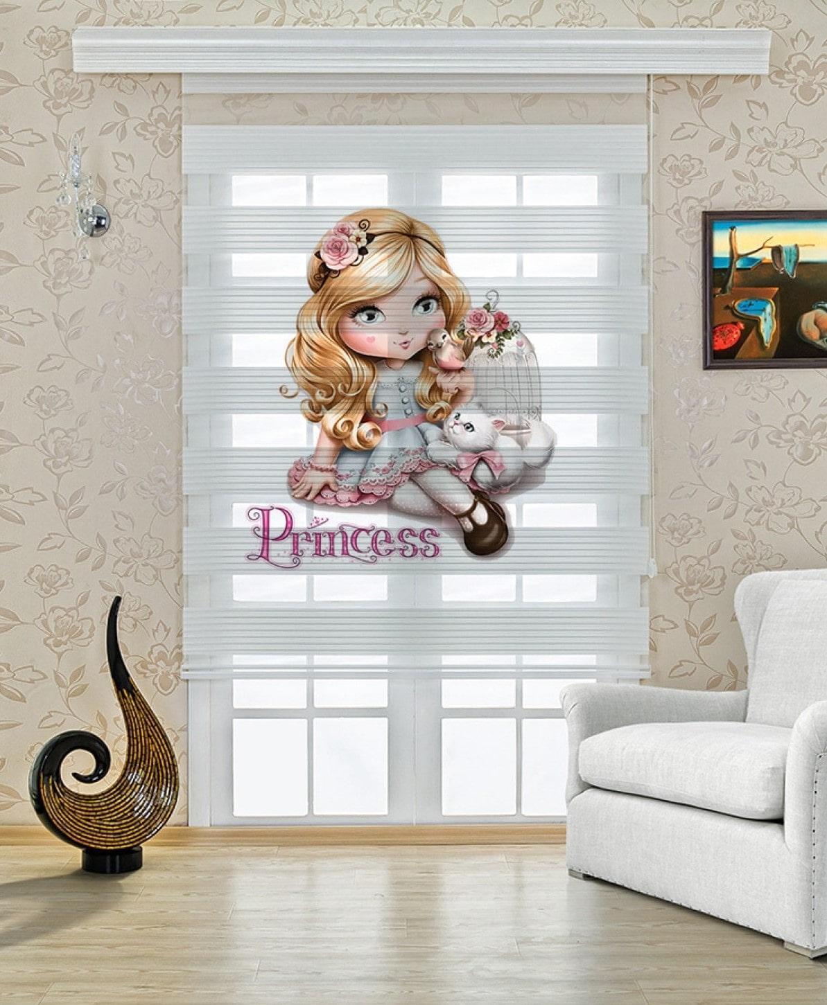 Prenses Baskılı bebek ve Çocuk Odası Zebra Perde