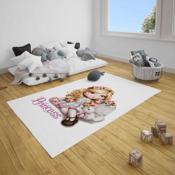 Prenses ve Sevimli Kedi Bebek ve Çocuk Odası Halı