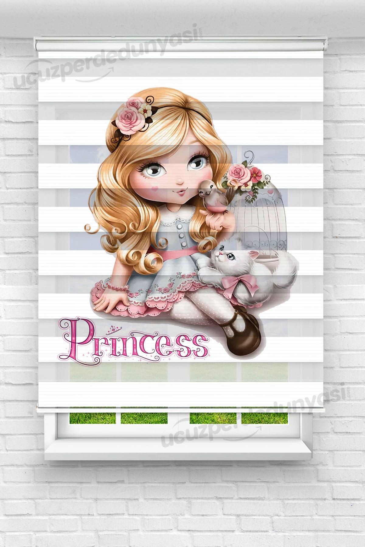 Princess Baskılı Bebek - Çocuk Odası Zebra Perde