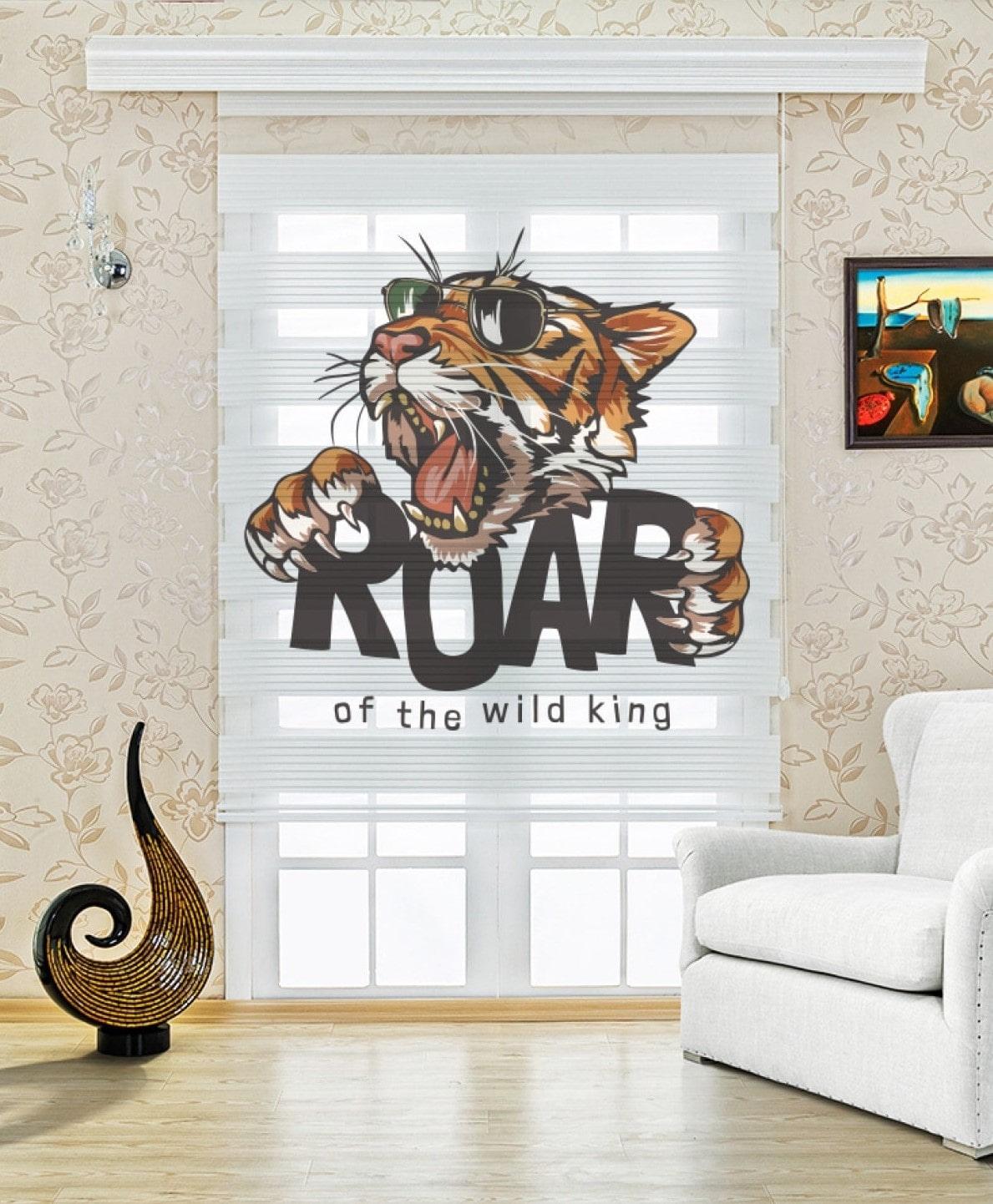 Roar Kaplan Dijital Baskılı Çocuk Odası Zebra Perde