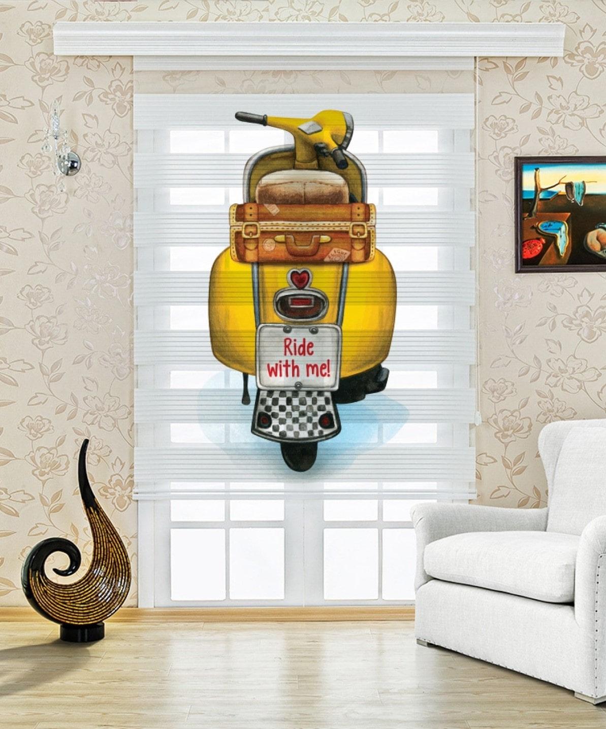 Sarı Motor Baskılı Çocuk Odası Zebra Perde