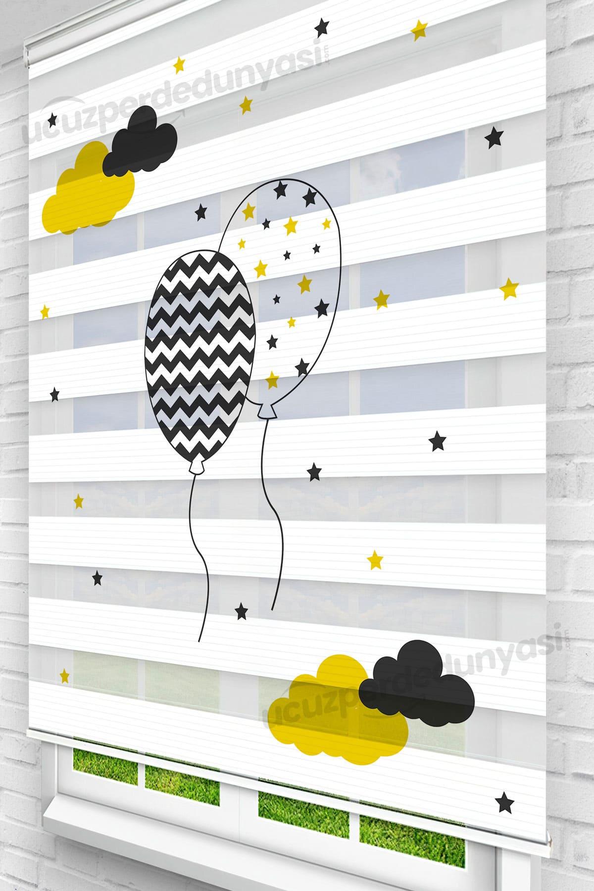 Bulutlar Ve Balonlar Baskılı Bebek - Çocuk Odası Zebra Perde