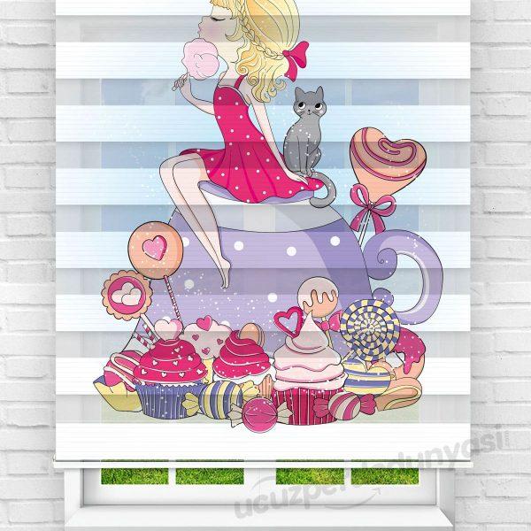 Şekerci Kız Baskılı Çocuk Odası Zebra Perde