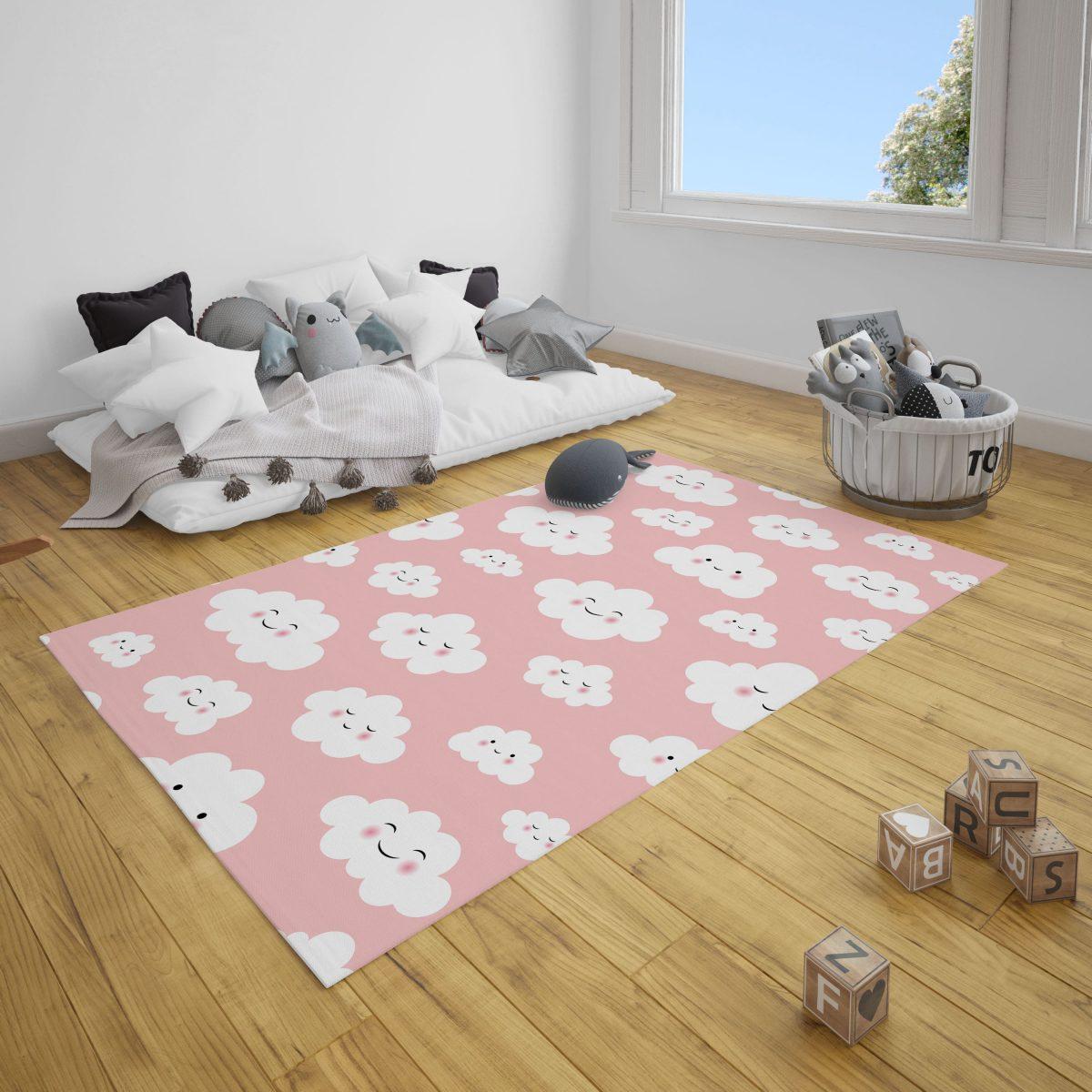 Pembe Sevimli Bulutlar Bebek ve Çocuk Odası Halı