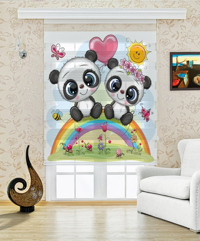 Sevimli Minik Pandalar Baskılı Zebra Perde