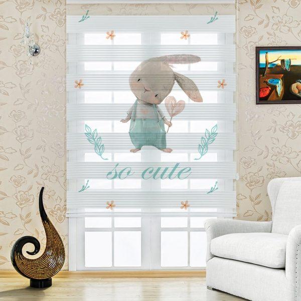 Meraklı Tavşan Baskılı Çocuk Odası Zebra Perde | UPD