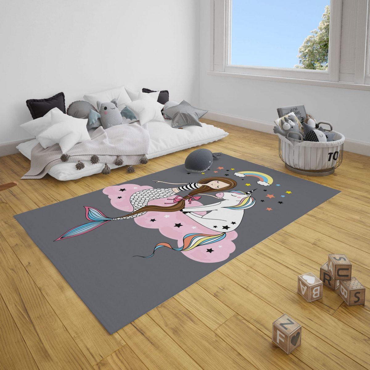 Deniz Kızı ve Unicorn Bebek ve Çocuk Odası Halı