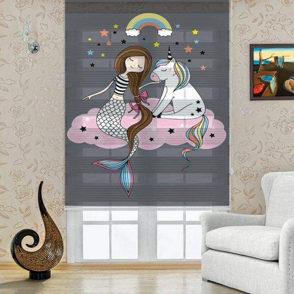 Siyah Deniz Kızı Baskılı Bebek ve Çocuk Odası Zebra Perde
