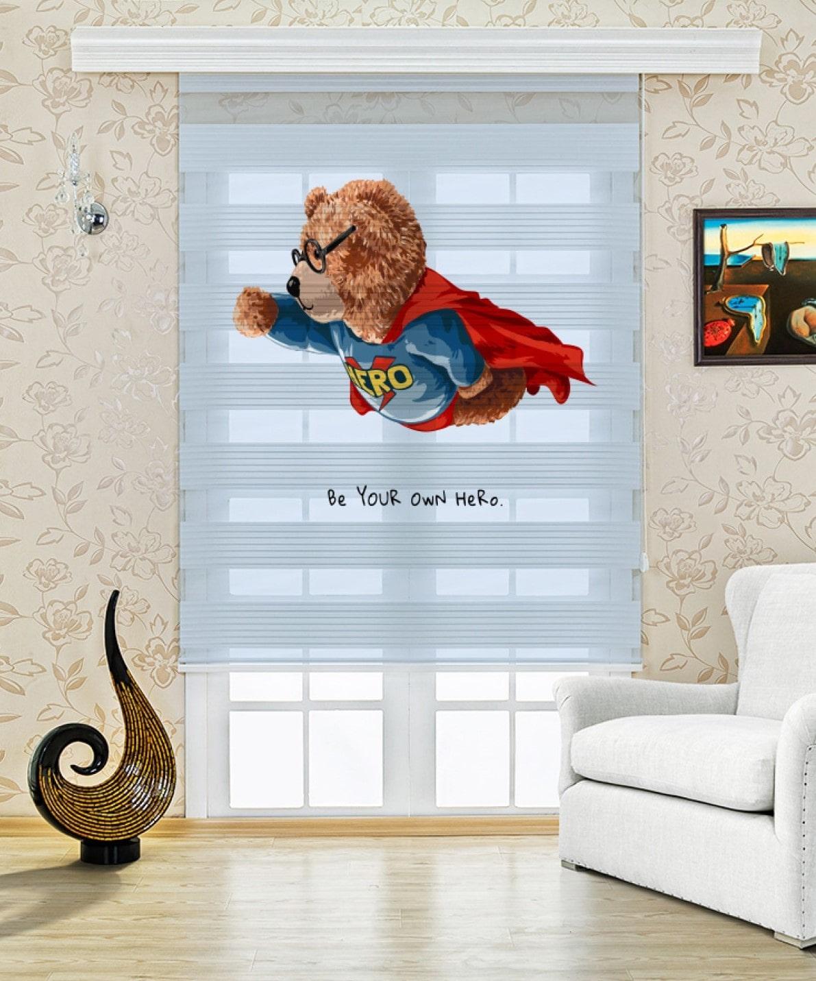 Süper Ted Baskılı Çocuk Odası Zebra Perde