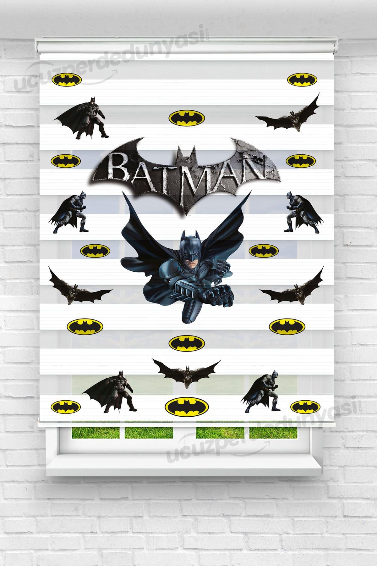Batman Baskılı Çocuk Odası Zebra Perde