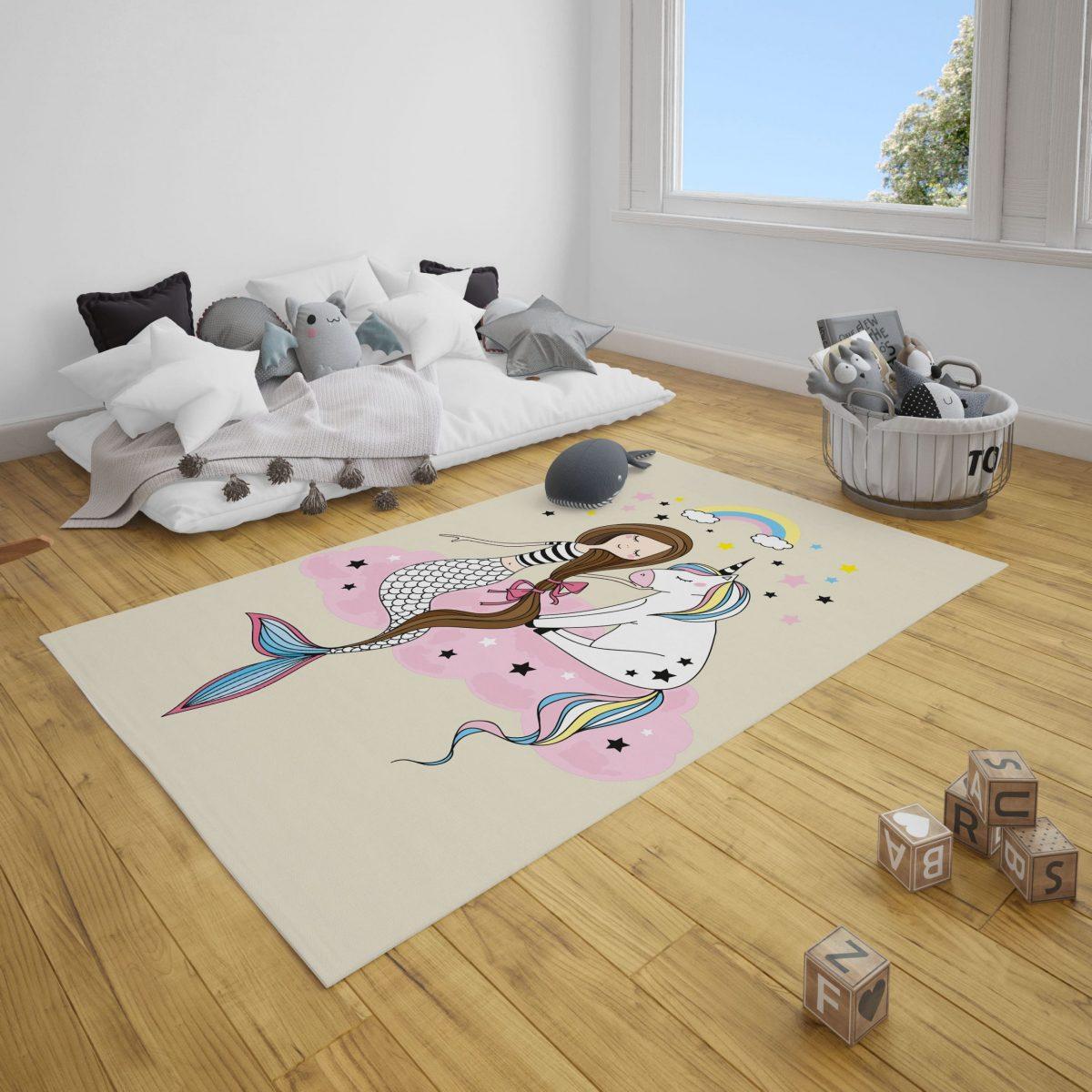 Unicorn ve Deniz Kızı Bebek ve Çocuk Odası Halı