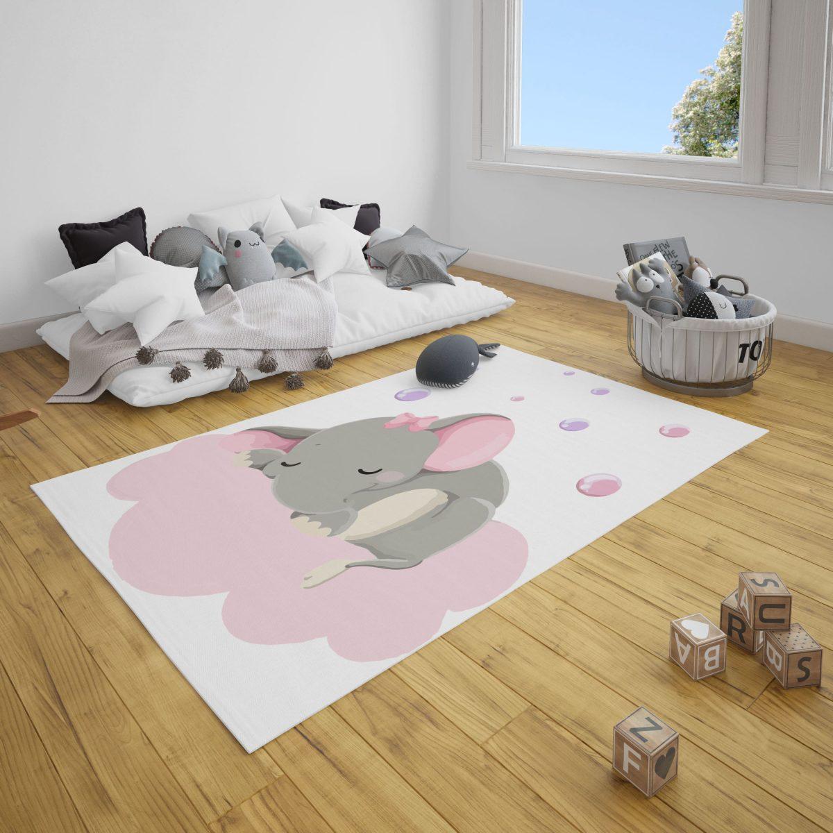 Uyuyan Tatlı Fil Bebek Odası Halı