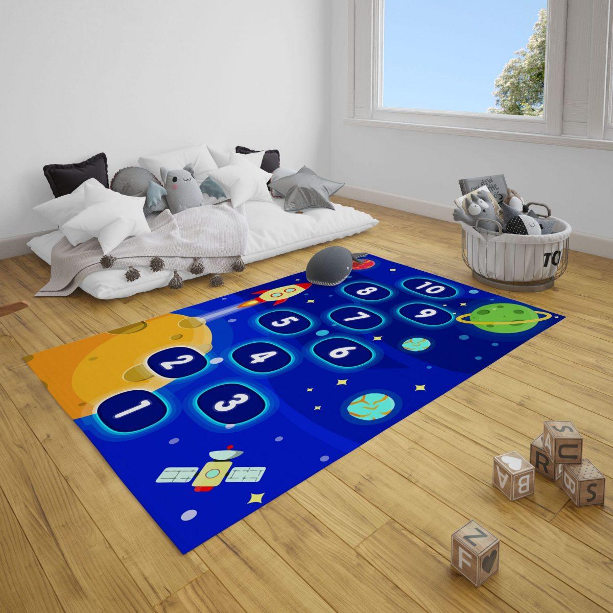 Uzay Seksek Çocuk Odası Halı