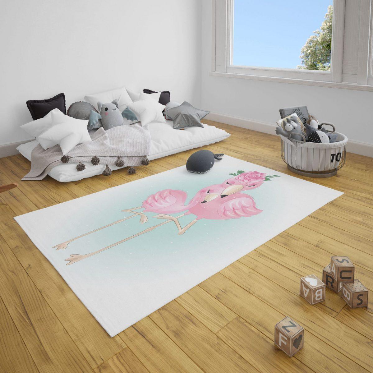 Aile Flamingolar Çocuk Odası ve Bebek Odası Halı