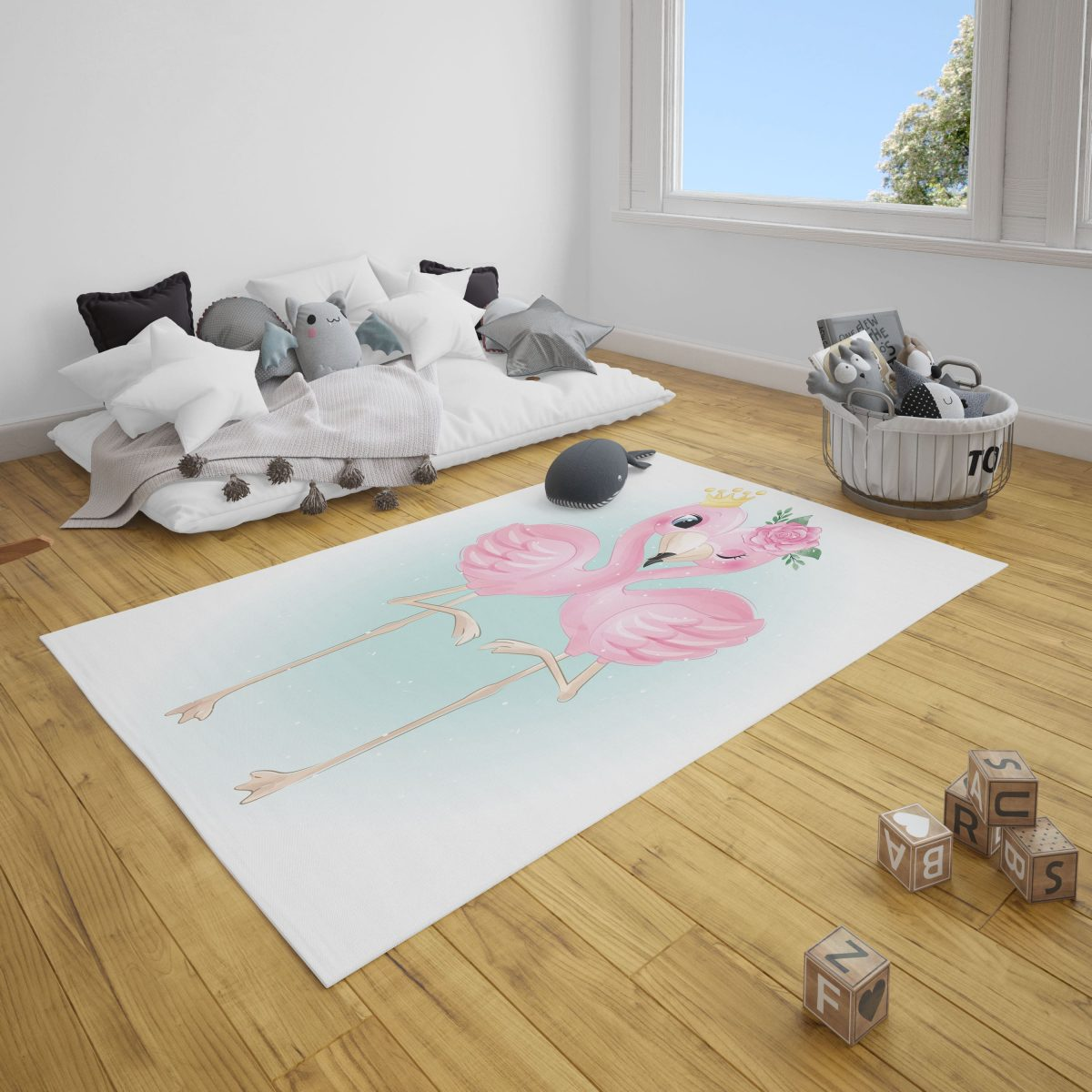 Çift Flamingolar Genç Odası ve Çocuk Odası Halı