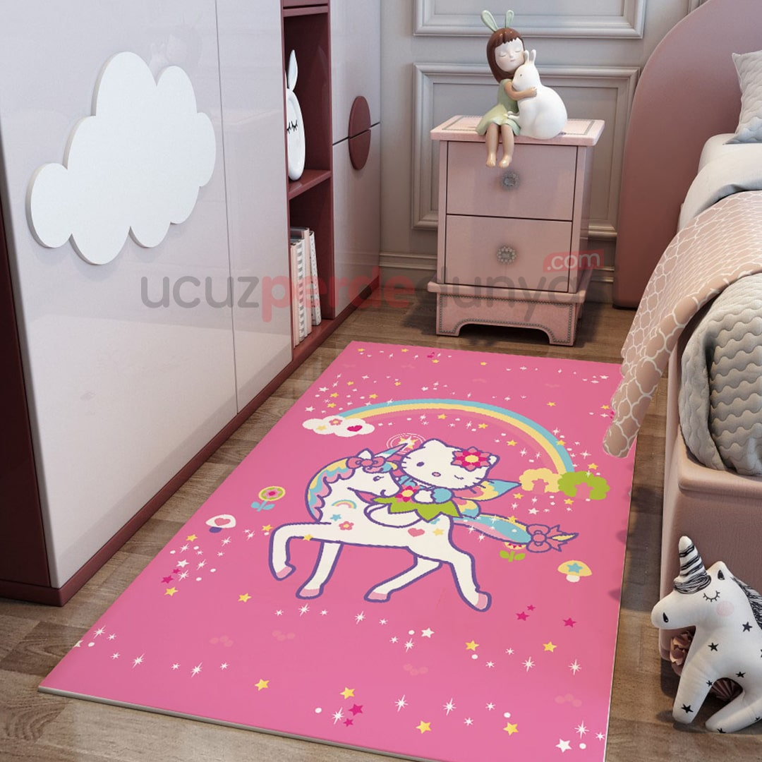 Atlı Hello Kitty Çocuk Odası ve Bebek Odası Halı