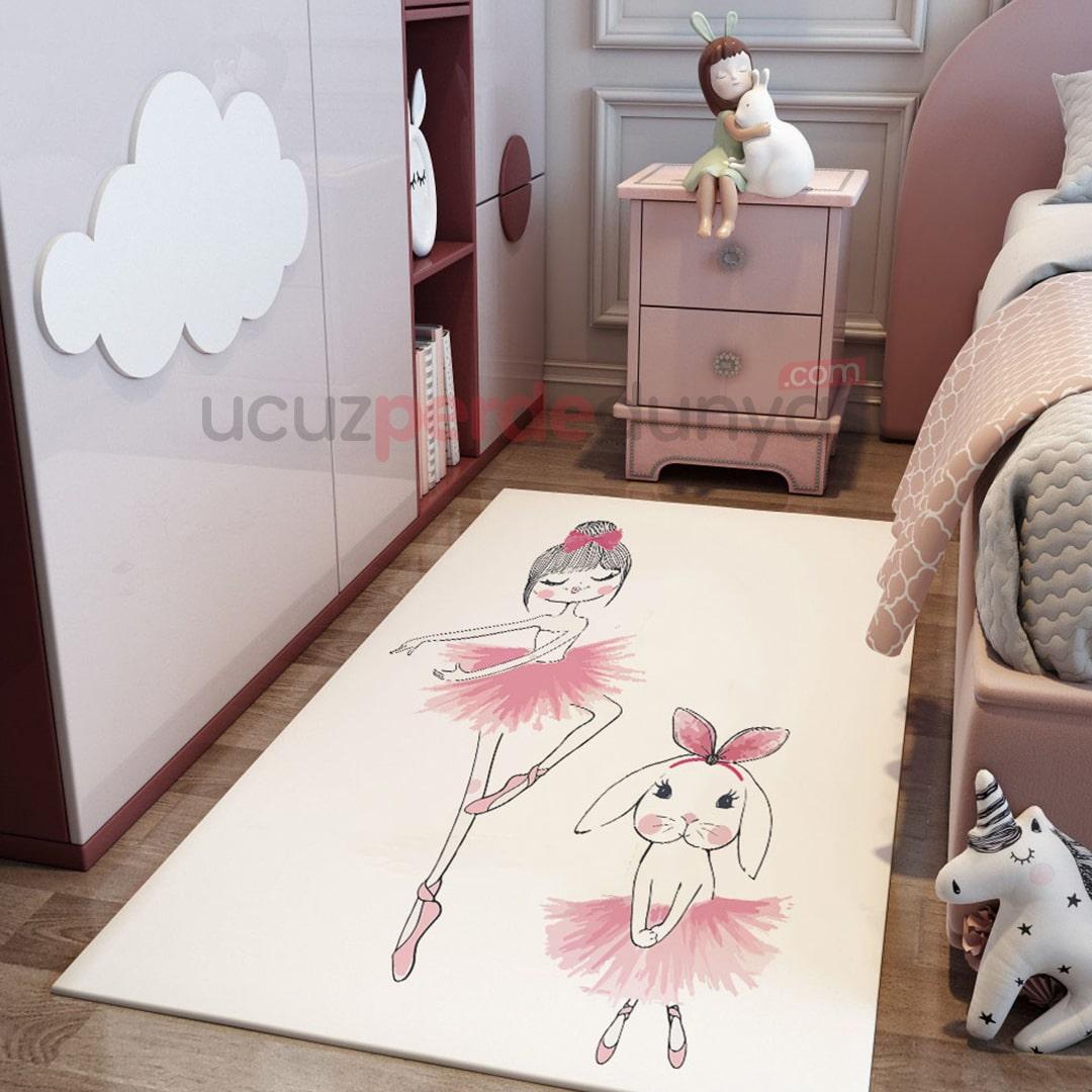 Balet Tavşan ve Kız Bebek Odası Halı