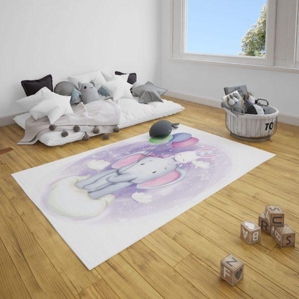 Balonlu Sevimli Fil Bebek Odası ve Çocuk Odası Halı