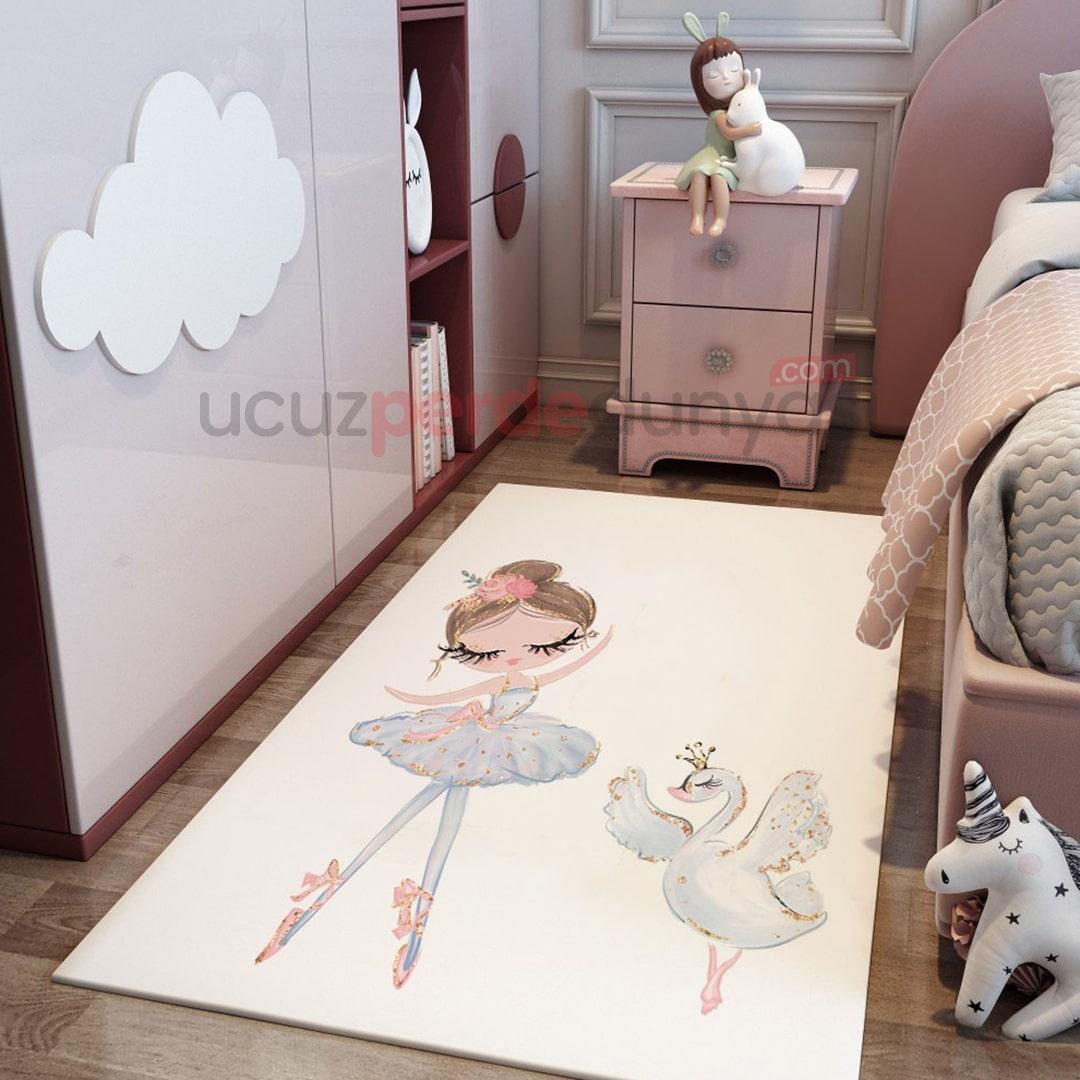 Beyaz Balet ve Kuğu Bebek Odası Halı