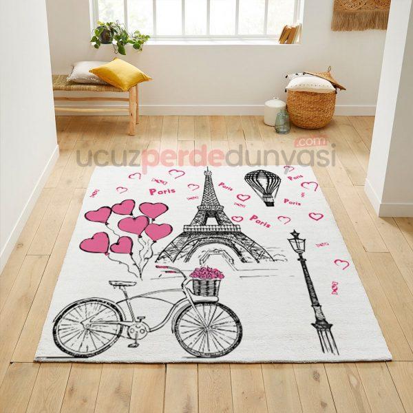 Pembe Bisikletli Paris Genç Odası Halı