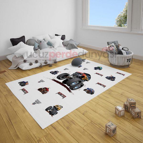 Canavar Arabalar Çocuk Odası Halı
