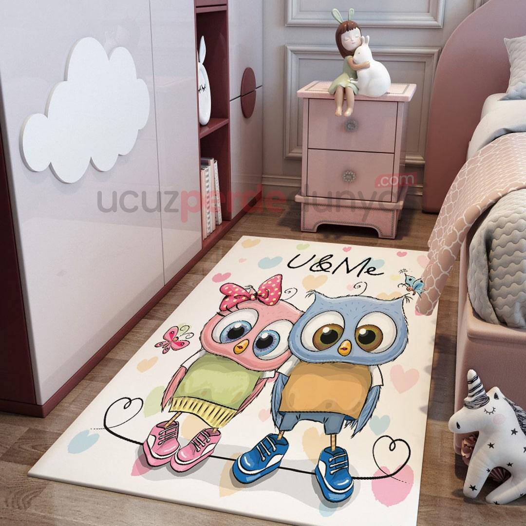 U ve M Çift Baykuşlar Çocuk Odası Halı
