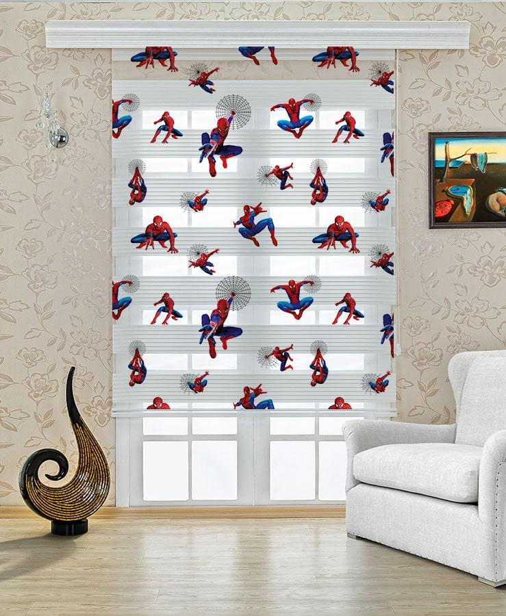 Örümcek Adam Desenli Çocuk Odası Stor Zebra Perde