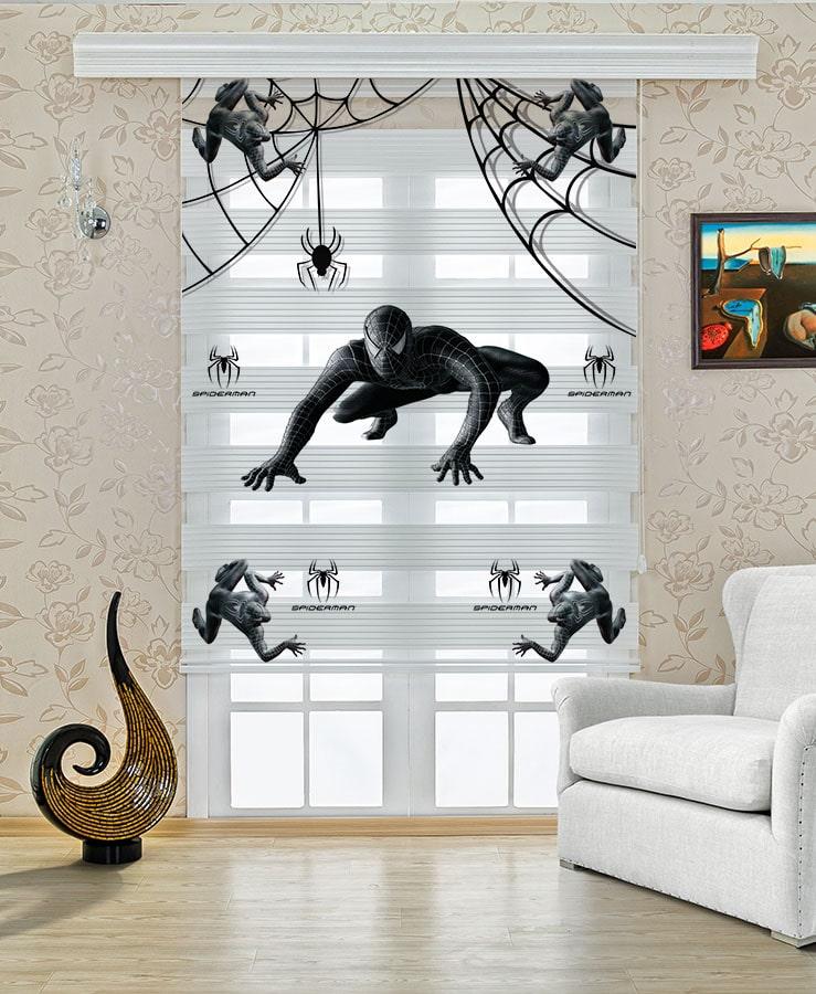 Siyah Örümcek Adam Çocuk Odası Stor Zebra Perde