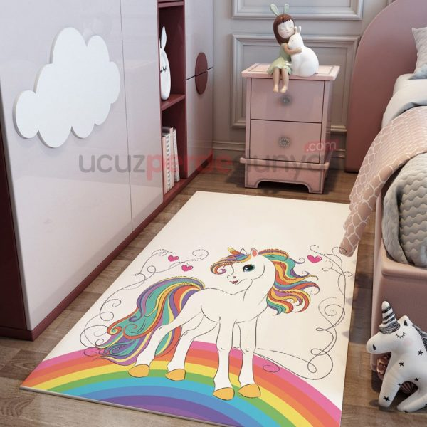 Gökkuşağı Unicorn Çocuk Odası Halı