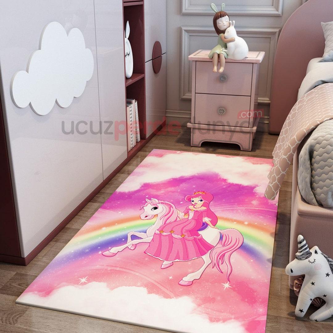 Gökkuşağı ve Prenses Bebek Odası Halı