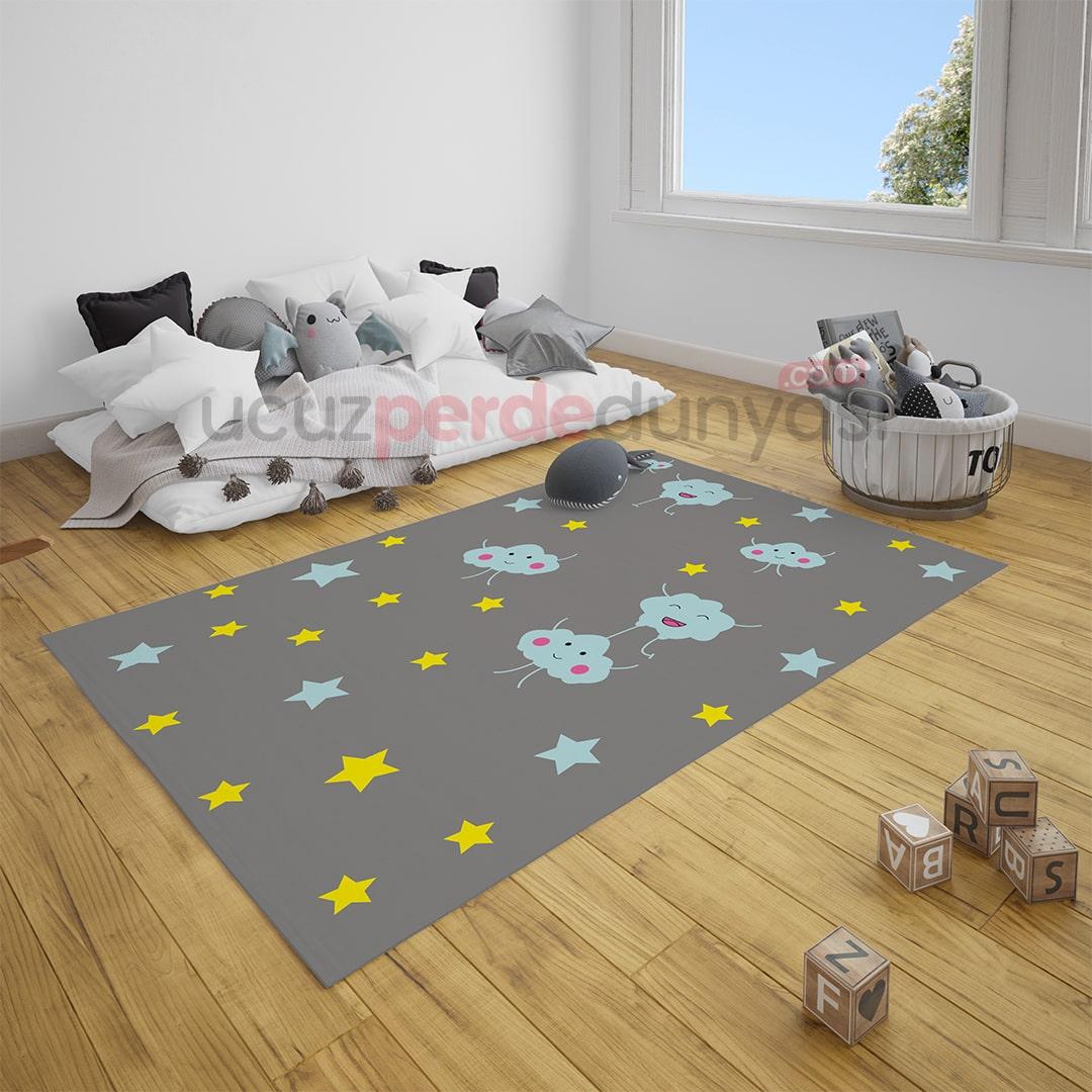 Gri Sevimli Bulutlar ve Yıldızlar Bebek Odası Halı
