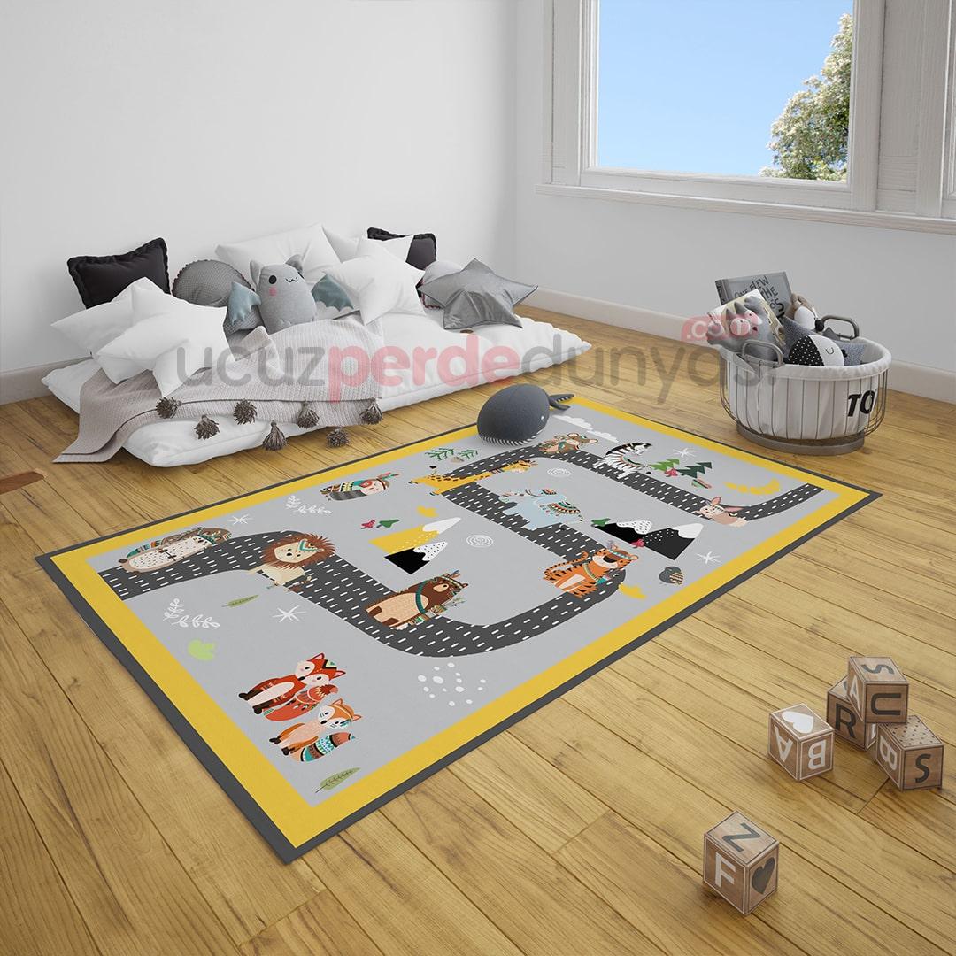 Hayvanlar Alemi Yol Çocuk Odası Halı