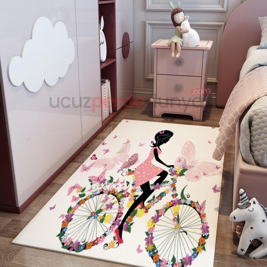 Kelebek Bisikletli Çocuk Odası Halı