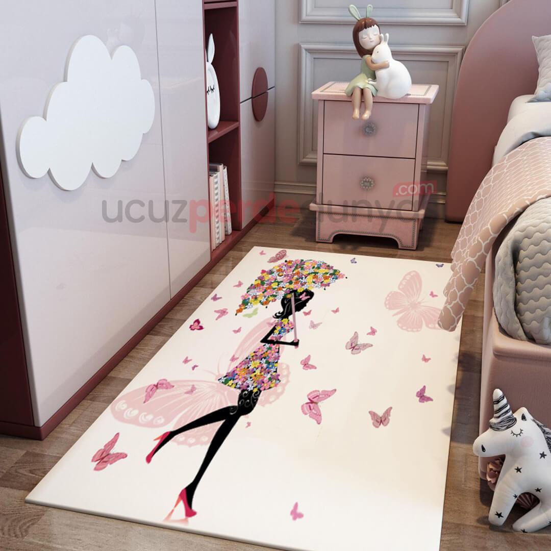 Kelebek Şemsiyeli Çocuk Odası Halı