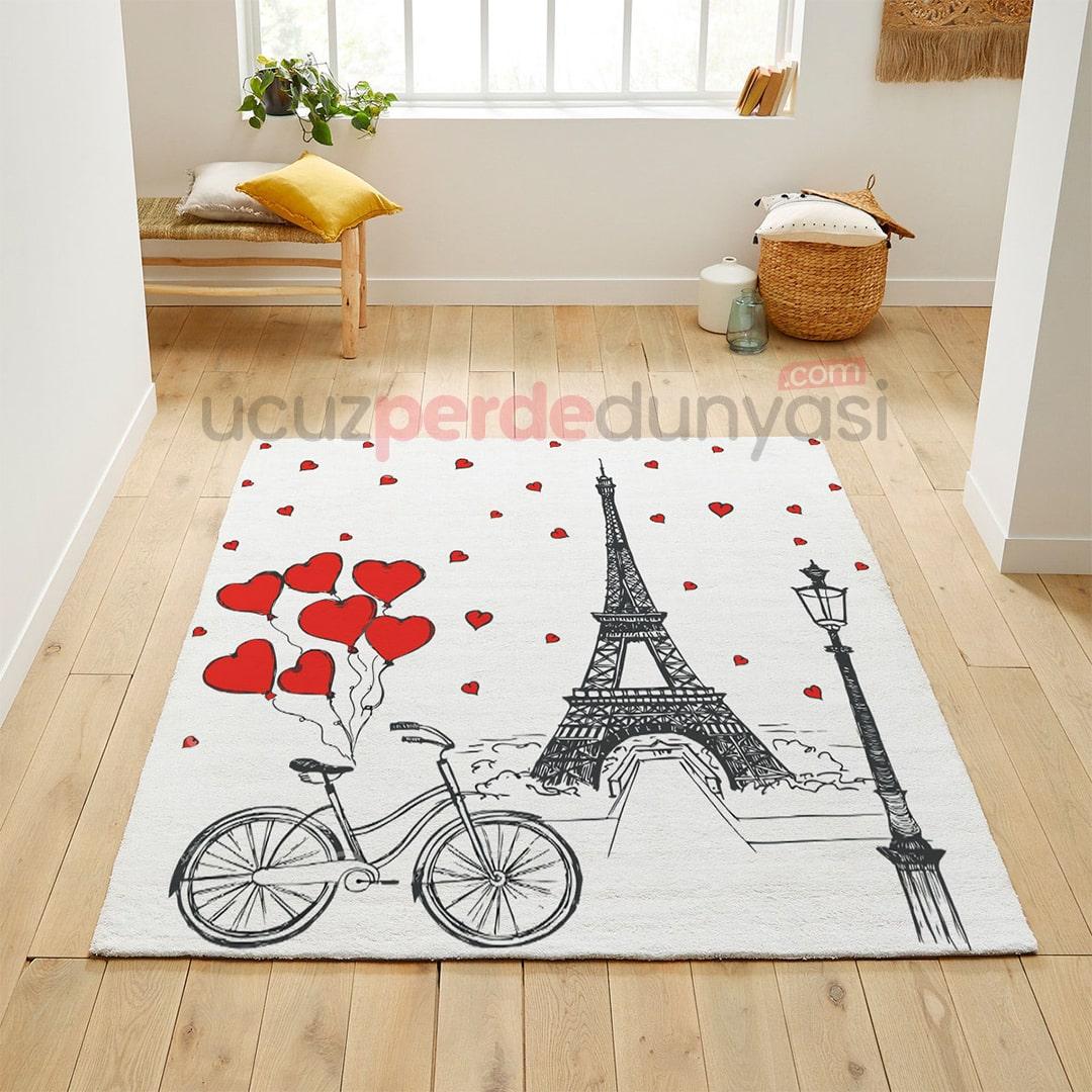 Kırmızı Bisiklet ve Paris Genç Odası Halı