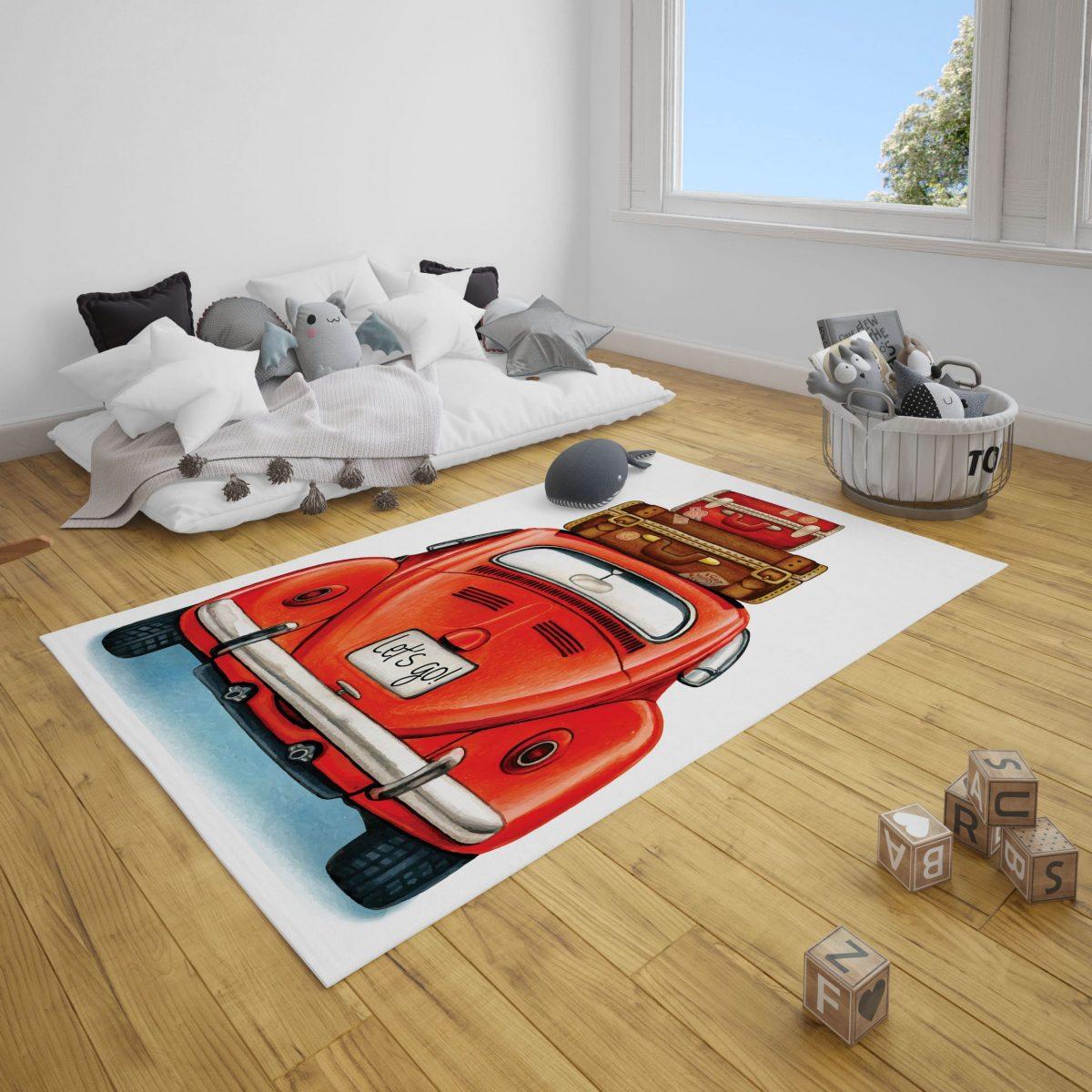 Kırmızı Woswos Araba Genç Odası ve Çocuk Odası Halı