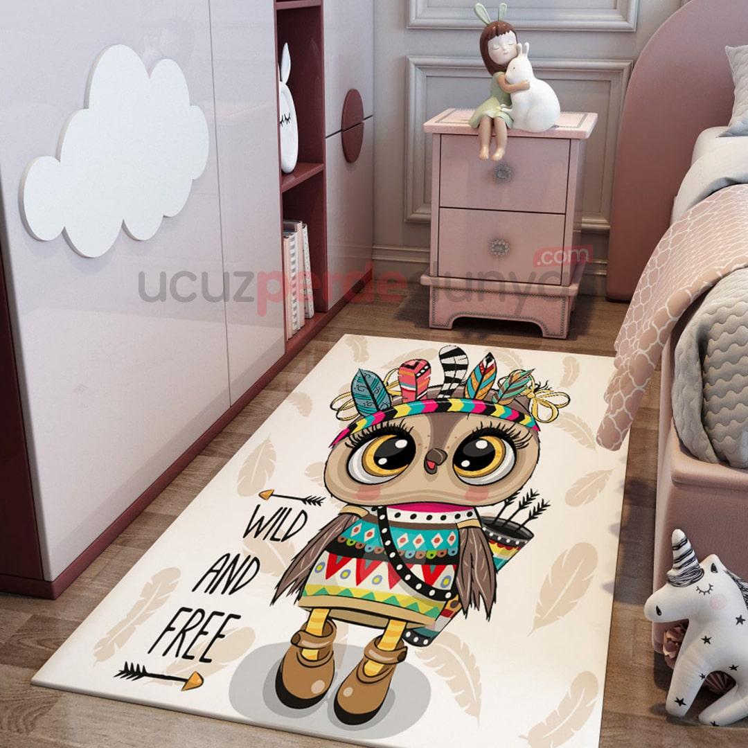 Kızılderili Baykuş Çocuk Odası Halı