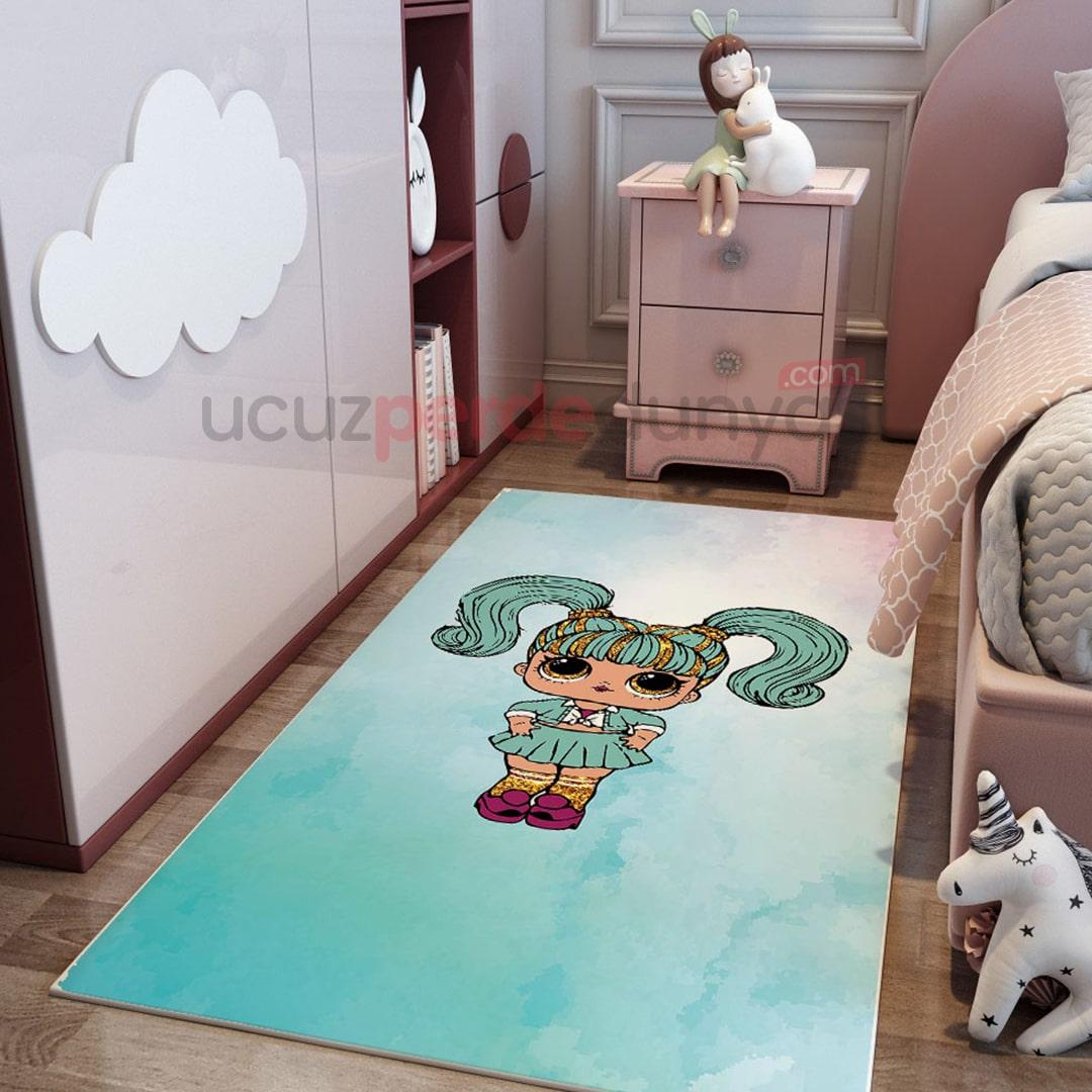 Mavi Prenses Unicorn Bebek Odası Halı
