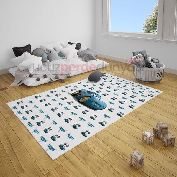 Mavi Şimşek Mcqueen Arabalar Çocuk Odası Halı