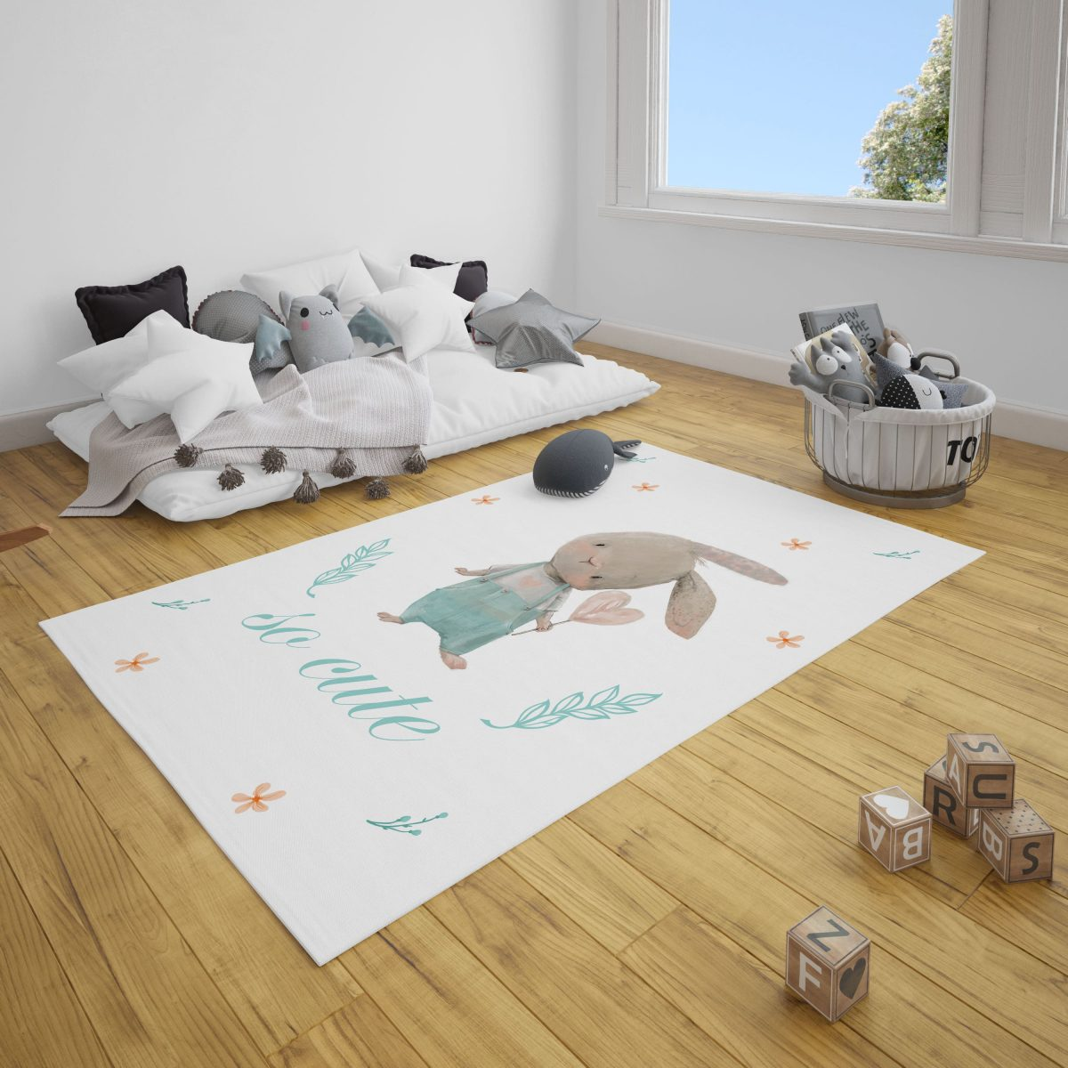 Meraklı Tavşan Bebek Odası ve Çocuk Odası Halı