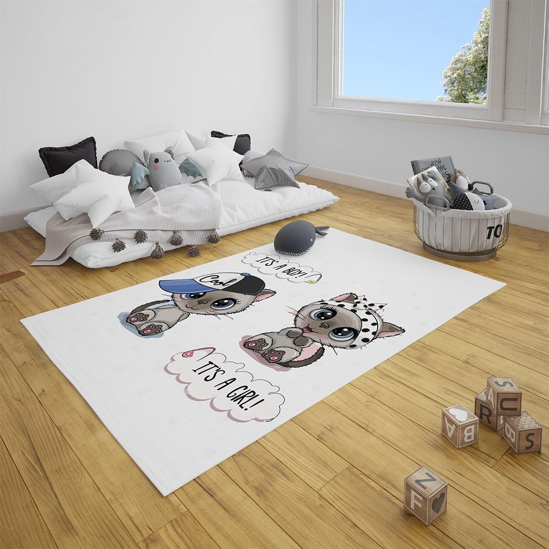 Minik Kediler Bebek Odası Halı