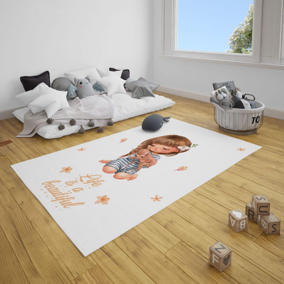 Minik Kız ve Dostu Bebek Odası ve Çocuk Odası Halı