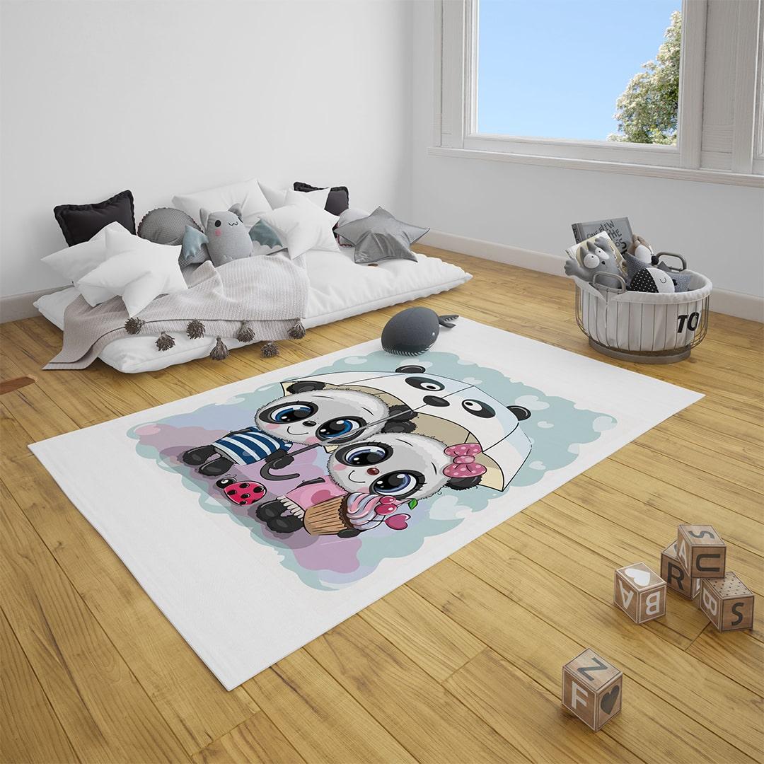 Minik Pandalar Bebek Odası Halı