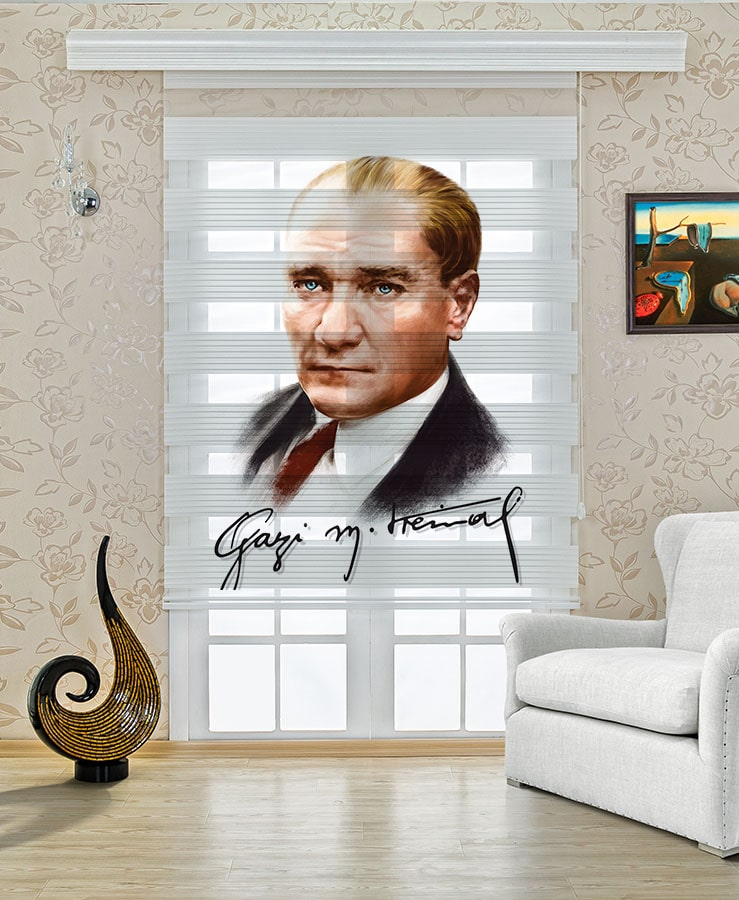 Renkli Mustafa Kemal Atatürk Stor Zebra Perde