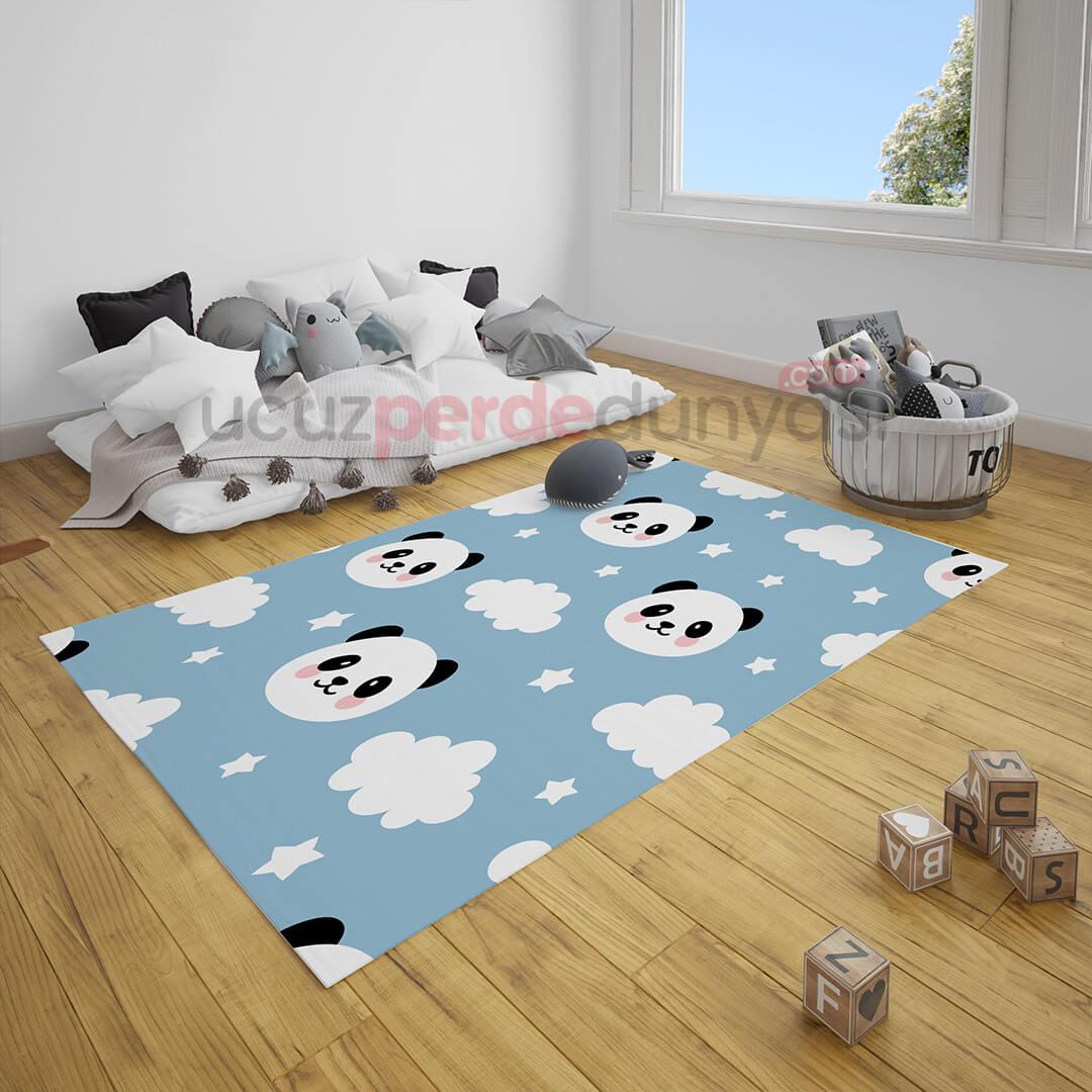 Mavi Panda Desenli Çocuk Odası Halı